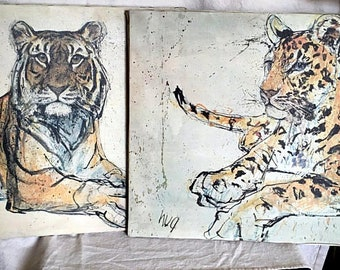 Pair Fritz Rudolph Hug Print on Canvas Leopard and Tiger Large