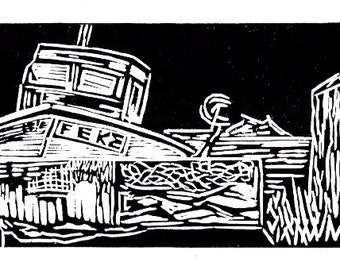 Dungeness,boat linocut