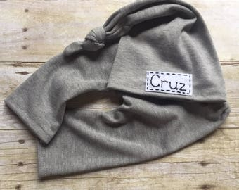 Personalized newborn Baby Top Knot Hat with Name Blue, gray or pink