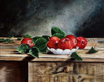 Still Life Apples- oil painting on canvas by Nikulina Yulia-  original oil painting- home decor- oil wall art- classical still life