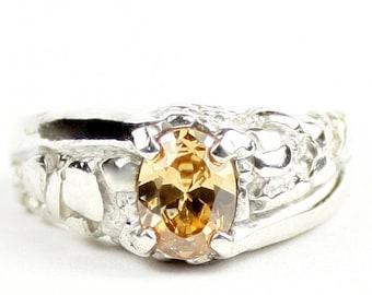 Champagne CZ, 925 Sterling Silver Men's Ring, SR368