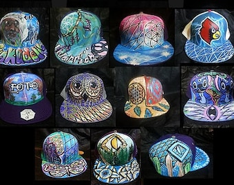 Hand Painted Grassroots snapback or fitted. Custom Lid Request, Made to order