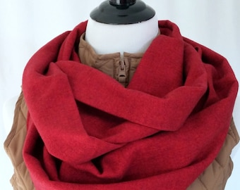 Deep Cherry Red Flannel Infinity Scarf. Great Christmas scarf. Christmas Present. Mens Scarf. Womens Scarf