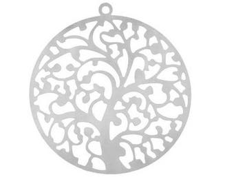 filigree tree of life charm silver stainless steel 4cm (D47)
