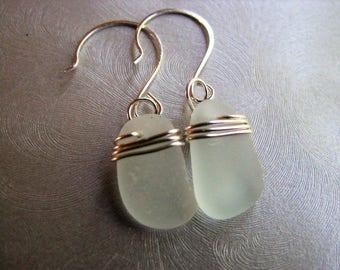 Seafoam Wire Wrapped Sea Glass Dangle Earrings - Seafoam Beach Glass Earrings - Ocean Jewelry Gifts - Prince Edward Island Pure Sea Glass