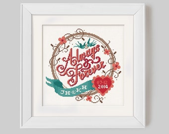 Always & Forever - Customisable Wedding Cross Stitch Pattern (Digital Format - PDF)