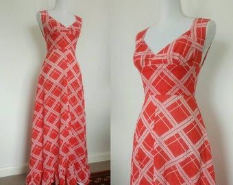 1970s Maxi cotton dress red with long dress summer sun dress size XS