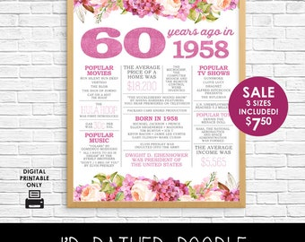 60th Birthday Sign - Back in 1958 - 60 Years Ago in 1958 - Printable Digital Sign - Instant Download - Boho Watercolor Flowers - Gift Sign
