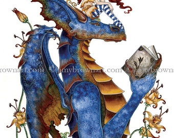 5x7 Bookclub reading dragon and fairy PRINT by Amy Brown