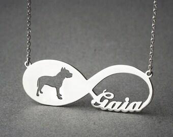 Personalised INFINITY PITBULL Necklace - Pitbull necklace - Name Necklace - Memorial Necklace - Dog Necklace
