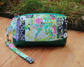 Clematis Wristlet, cell phone clutch, wristlet wallet,  evening purse, small clutch, zippered pouch, zippered clutch, removable strap