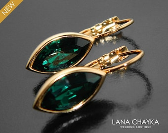 Emerald Gold Crystal Marquise Earrings Swarovski Emerald Leverback Earrings Bridesmaid Green Jewelry Mother of the Bride Emerald Earrings