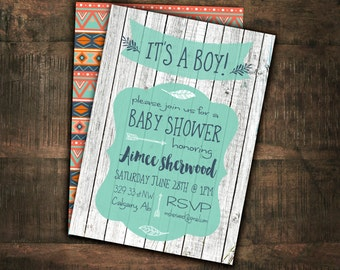 Baby Shower Invitation, Printable Baby Shower, Tribal, Indian, Aztec, Double Sided, Custom, Digital, Wood, Rustic  #1