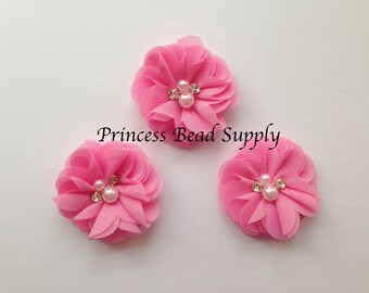"Mini Chiffon Pink Flowers, Set of 3 Petite Bubble Gum Pink Chiffon Flowers,  2"" Chiffon Flowers,  Pearl & Rhinestone Chiffon Fabric Flowers,"