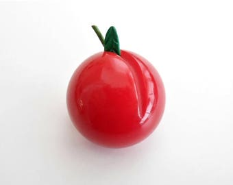 Vintage BAKELITE Cherries Cherry Pin CHERRY RED Realistic Fruit