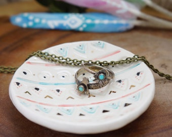 Tribal ceramic Ring Cone dish, Ring Holder, Boho Jewelry, jewelry ring holder, handmade ring holder