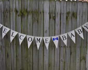 Welcome Baby Shower, Burlap Banner - Baby Shower - Welcome Baby Custom Personalized , Burlap Bunting  Baby Announcement