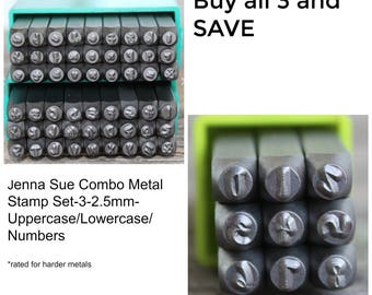 Jenna Sue Font Metal Stamp Set-3 -2.5mm-COMBO Uppercase/Lowercase/Numbers-Metal Supply Chick-Steel Stamps for Metal-Can be used on Stainless