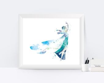 Elsa Princess Art Print Watercolor Frozen Wall Art Frozen Elsa Disney Frozen Wall Decor Gift Disney Princess Poster Girl Room Nursery Decor