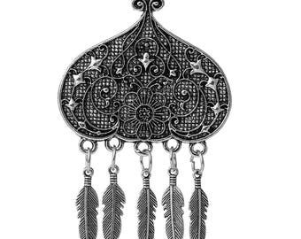 79 mm x 49 mm Antique Silver Pendant, Flowers and Feathers (1168)