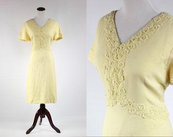 1960er Jahre Spitzen-Detail gelb Kleid