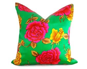 Pink Bohemian Pillows, Pink Green Pillows, Floral Pillows, Satin Pillow,  Cushion Covers, Neon, Pink Pillows, Vintage Pillows, 16, 18x18