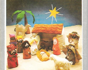 1970's Simplicity 8776 Christmas Creche Nativity Scene, Dolls And Animals,   UNCUT