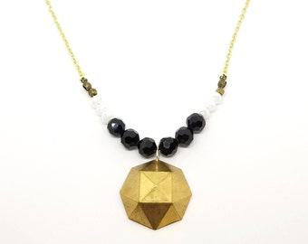 Brass Geometric Necklace | Modern Beaded Necklace with Brass Pendant