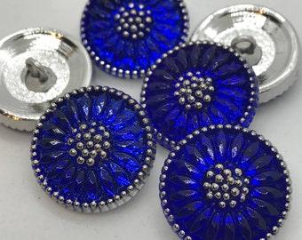 COBALT Czech Glass Daisy Button, 18mm Czech Glass Button, 18mm Button, Daisy Button, Czech Glass Daisy, Czech Glass Buttons,