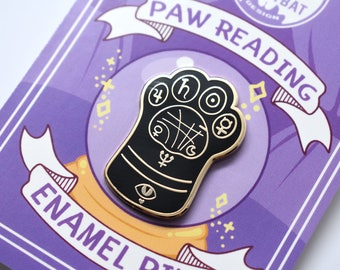 Kawaii Paw Reading Enamel Pin