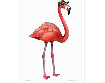 Flamingo in a Tropical Print Cap  - A4 Birds in Hats Art Print