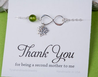 Thank you for being my second mother,Godmother gift,Lucky lotus infinity love sterling silver bracelet,Yoga lotus bracelet,Mother in law