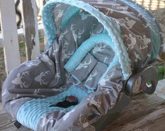 gray with white buck marks and aqua minky infant car seat cover and hood cover