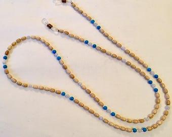 Pinewood, turquoise and lace agate sunny saverz - eyeglass chain, eyeglass lanyard, sunglass strap, sunglass lanyard