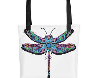 Psychedelic Dragonfly Tote Bag
