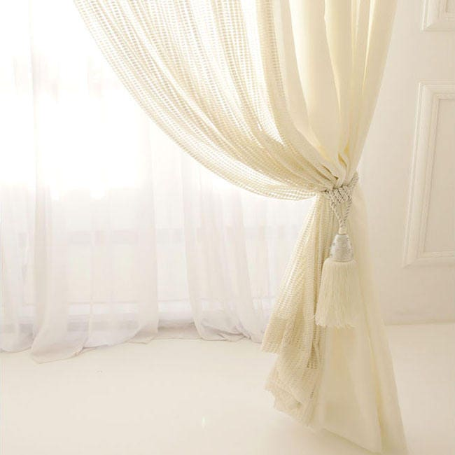 Sparkle Gold Weave Squared White Sheer Curtain Voile Panel Gallery Photo