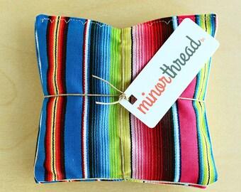 Organic Lavender Sachet Set Contemporary Rainbow Serape Cotton & Natural Linen Handmade Hostess Gift - 2 Sachets Natural Home