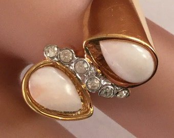 Vintage 18K GE w/Crystals & Pink Teardrops Abstract Ring Sz 6.5 #2417