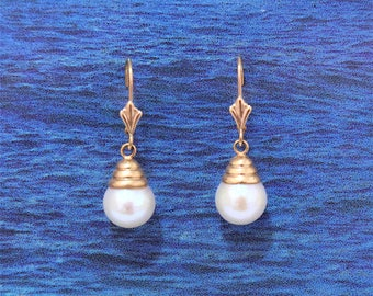 White Pearl Earring, 14KT Yellow Gold White Pearl Post Earring W. Lever Back, E5592