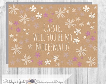 Pretty Floral Will You Be My Bridesmaid cards - Printable on Kraft card, Rustic Design - includes 3 cards