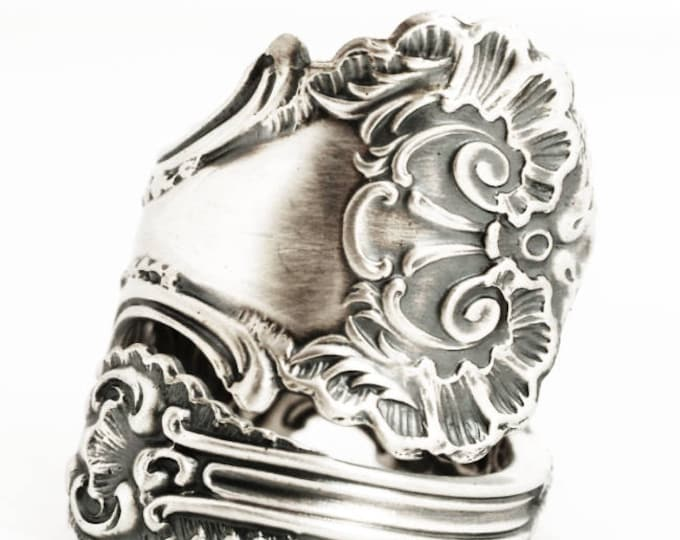 """Victorian Spoon Ring, Lace Ring, Sterling Silver Spoon Ring, Frilly Ring Gift, Antique Whiting """"Pompadour"""" 1895, Adjustable Ring Size (6965)"""
