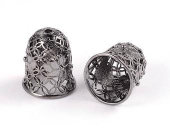 2pcs Gunmetal Plated Filigree Brass Bead Caps Tassel Caps Bead Cones