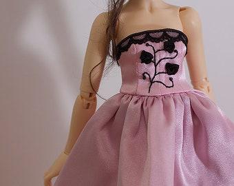 "MSD BJD Clothes - ""Black roses"" dress (Fairyland Minifee A-line) for 1/4 Girl"