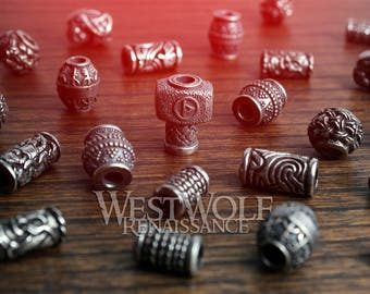 Silver Viking Jewelry / Beard Beads --- Norse/Scandinavian/Designs/Raven/Thor/Hammer/Rune/Shield/Knot/Bead/Necklace/Pendant