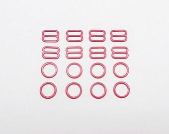 Bra making, 4 sets, nylon coated metal, rings and sliders, metal findings, strap adjusters, 11-12 mm, 1/2 in, colored metal, lingerie making
