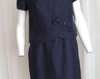 Navy blue silk dress, 1960s vintage Ole Borden two-piece set, Jackie Kennedy style, USA, size small