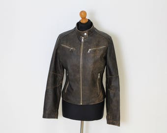 Brown Leather Bomber Jacket Distressed leather Biker leather jacket, Aged Leather Bomber / Brown Leather Rocker Blazer Small to Medium
