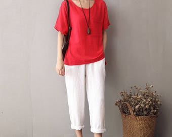 Women cotton and linen T-shirt – Short sleeve thin loose t-shirt