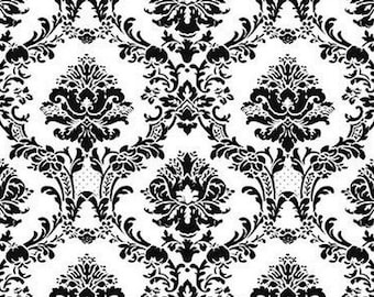 Large Black And White Victorian Damask