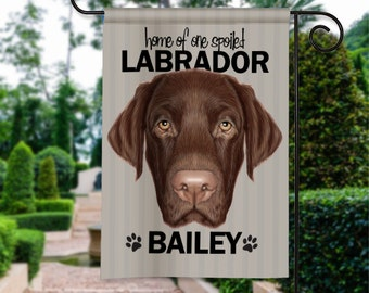 Lab Labrador Retriever Dog Breed Personalized Garden Flag Yard Sign Banner Decor Decoration Personalize w Pet Name Great GIFT for Dog Lovers